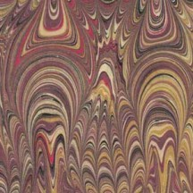 Hand Marbled Paper Soundwave Combed Pattern in Burgundy and Yellow ~ Berretti Marbled Arts