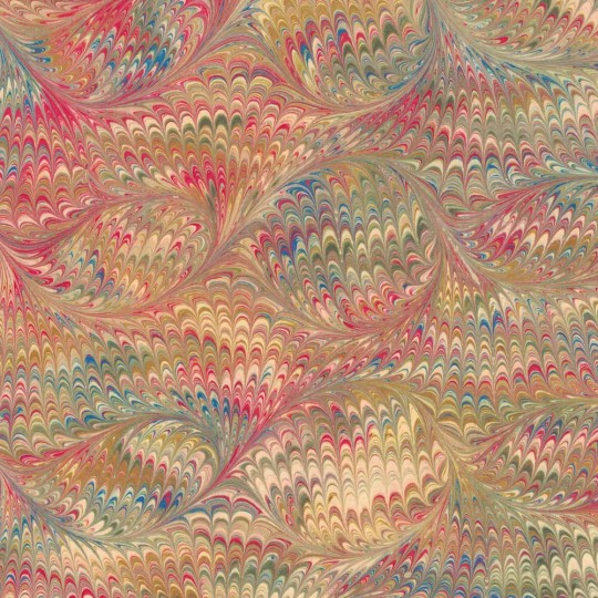 Hand Marbled Paper Bird Wing Pattern in Red and Yellow Multi ~ Berretti Marbled Arts