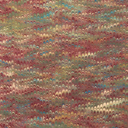 Hand Marbled Paper Combed Pattern in Burgundy and Green ~ Berretti Marbled Arts