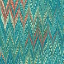Hand Marbled Paper Twilled Pattern in Greens ~ Berretti Marbled Arts