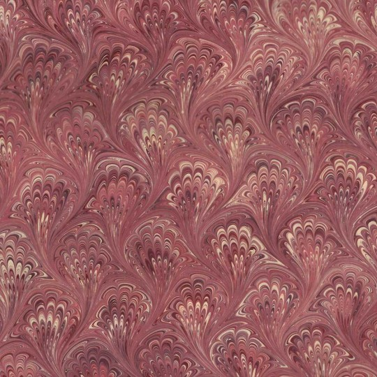 Hand Marbled Paper Peacock Pattern in Burgundy ~ Berretti Marbled Arts