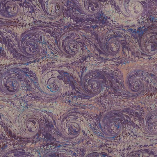 Hand Marbled Paper Combed French Curl Pattern in Purples ~ Berretti Marbled Arts