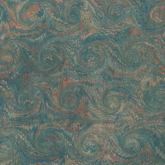 Hand Marbled Paper Combed French Curl Pattern in Dark Greens ~ Berretti Marbled Arts