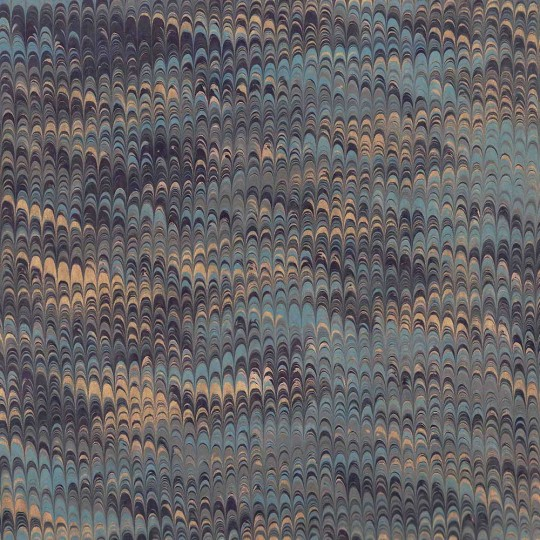 Hand Marbled Paper Combed Pattern in Dark Blues + Gold ~ Berretti Marbled Arts