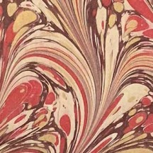 Hand Marbled Paper Combed Nonpareil Pattern in Reds + Gold ~ Berretti Marbled Arts