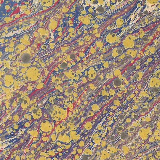 Hand Marbled Paper Stone Marble Pattern in Golden Yellow and Purple ~ Berretti Marbled Arts
