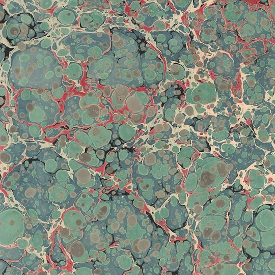 Hand Marbled Paper Stone Marble Pattern in Green and Red ~ Berretti Marbled Arts