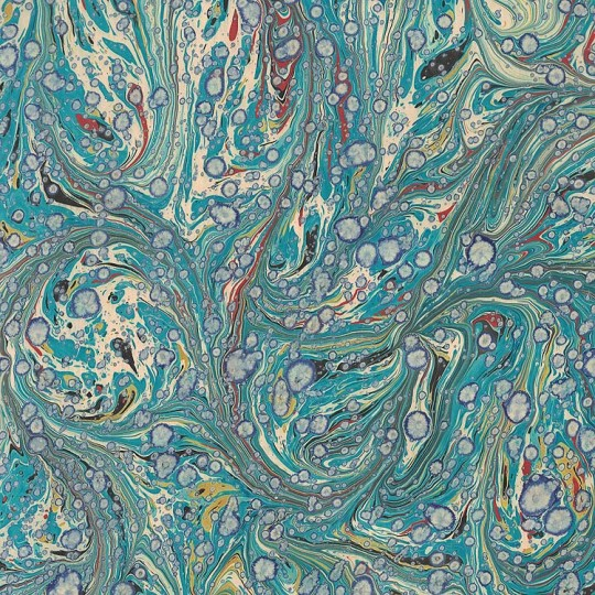 Hand Marbled Paper Stone Marble Pattern in Teal and Ivory ~ Berretti Marbled Arts