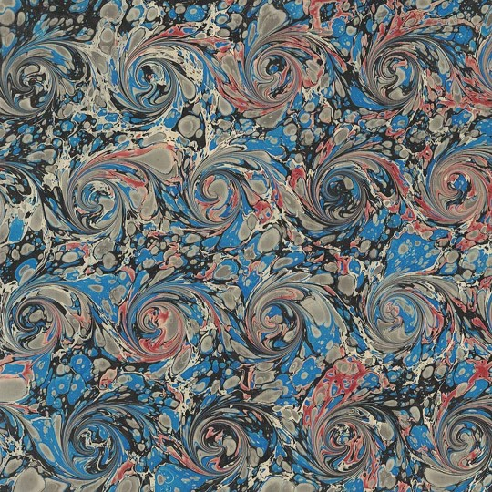 Hand Marbled Paper French Curl Pattern in Blue and Black ~ Berretti Marbled Arts