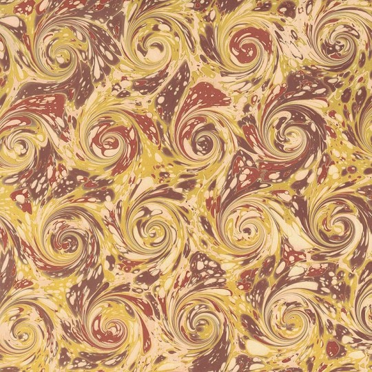Hand Marbled Paper French Curl Pattern in Yellow and Brown ~ Berretti Marbled Arts