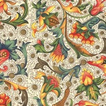 Floral and Vine Striped Florentine Print Italian Paper ~ Carta Varese