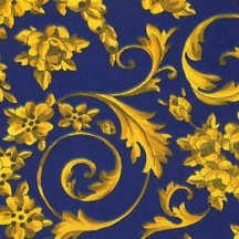 Blue and Golden Flower Garlands Print Italian Paper