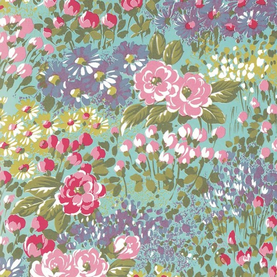 Aqua Painted Meadow Flowers Print Italian Paper