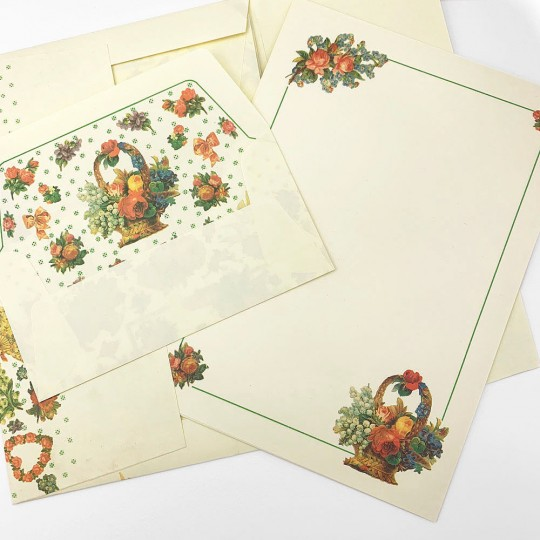 Italian Stationery Letter Writing Set in Portfolio ~ 10 sheets + 10 envelopes ~ Vintage Ephemera