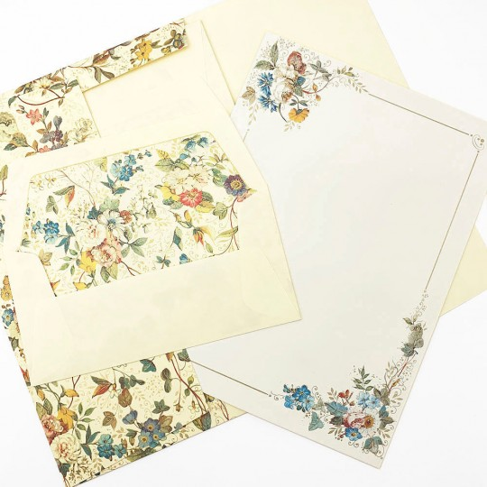Italian Stationery Letter Writing Set in Portfolio ~ 10 sheets + 10 envelopes ~ Flowers and Vines