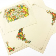 Italian Stationery Letter Writing Set in Portfolio ~ 10 sheets + 10 envelopes ~ Florentine fruit