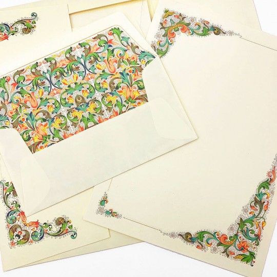 Italian Stationery Letter Writing Set in Portfolio ~ 10 sheets + 10 envelopes ~ Multi-color Florentine