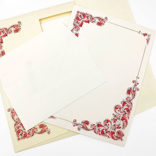 Italian Stationery Letter Writing Set in Portfolio ~ 10 sheets + 10 envelopes ~ Red Florentine