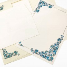 Italian Stationery Letter Writing Set in Portfolio ~ 10 sheets + 10 envelopes ~ Blue Florentine