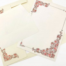 Italian Stationery Letter Writing Set in Portfolio ~ 10 sheets + 10 envelopes ~ Pink Florentine