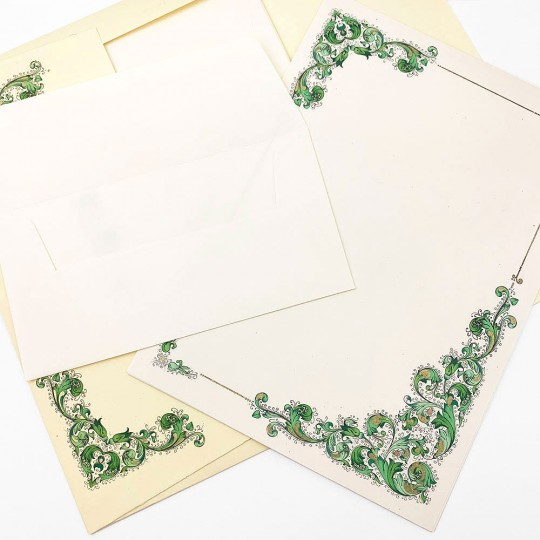 Italian Stationery Letter Writing Set in Portfolio ~ 10 sheets + 10 envelopes ~ Green Florentine