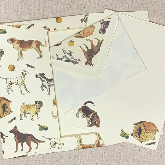 Italian Stationery Letter Writing Set in Portfolio ~ 10 sheets + 10 envelopes ~ Mixed Dogs
