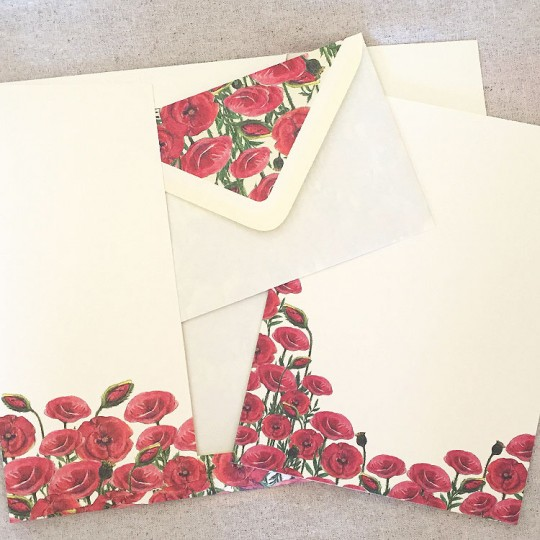 Italian Stationery Letter Writing Set in Portfolio ~ 10 sheets + 10 envelopes ~ Red Poppies