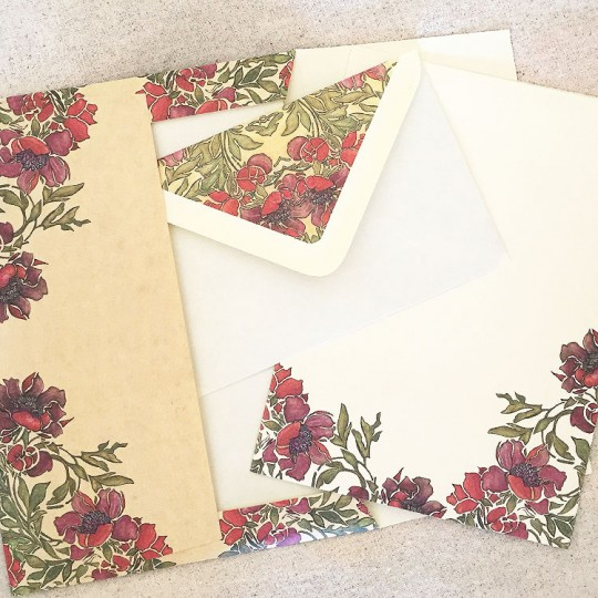 Italian Stationery Letter Writing Set in Portfolio ~ 10 sheets + 10 envelopes ~ Anemone Flowers and Leaves