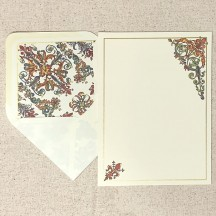 Italian Stationery Letter Writing Set in Portfolio ~ 10 sheets + 10 envelopes ~ Colorful Florentine Design with Gold Highlights