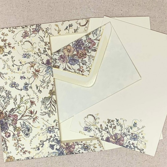Italian Stationery Letter Writing Set in Portfolio ~ 10 sheets + 10 envelopes ~ Colorful Floral Design with Gold Highlights