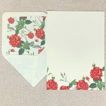 Italian Stationery Letter Writing Set in Portfolio ~ 10 sheets + 10 envelopes ~ Red Roses