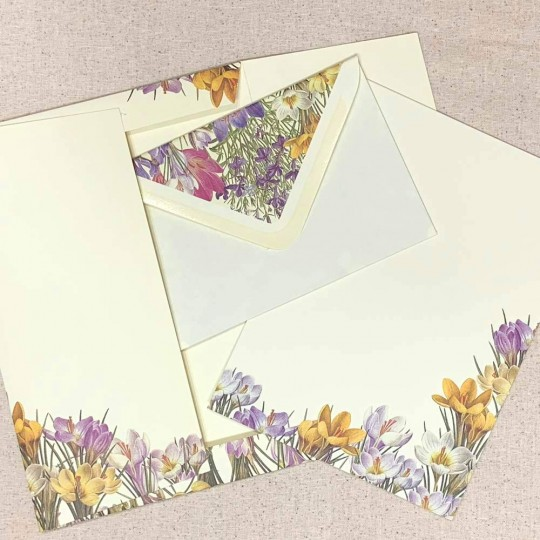 Italian Stationery Letter Writing Set in Portfolio ~ 10 sheets + 10 envelopes ~ Crocus