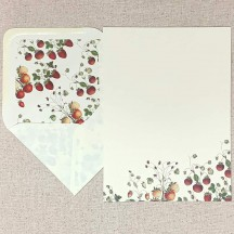 Italian Stationery Letter Writing Set in Portfolio ~ 10 sheets + 10 envelopes ~ Petite Strawberries