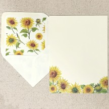 Italian Stationery Letter Writing Set in Portfolio ~ 10 sheets + 10 envelopes ~ Yellow Sunflowers