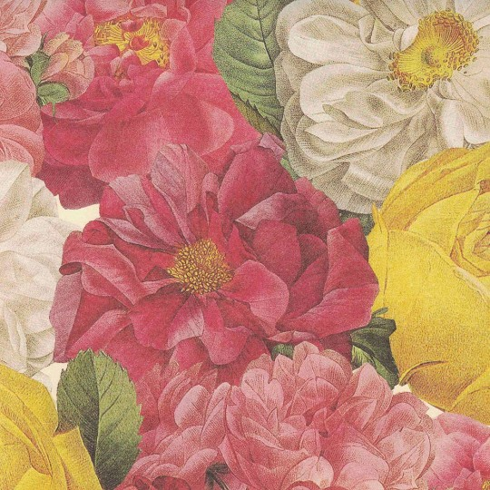 XL Bold Mixed Roses Flower Print Italian Paper