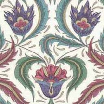 Jewel Tone Flowers and Leaves Florentine Print Italian Paper