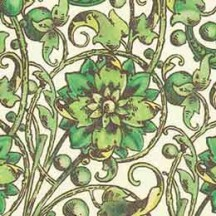 Green Flower and Vine Florentine Print Italian Paper