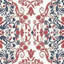 Red and Blue Tiled Flourishes Italian Paper
