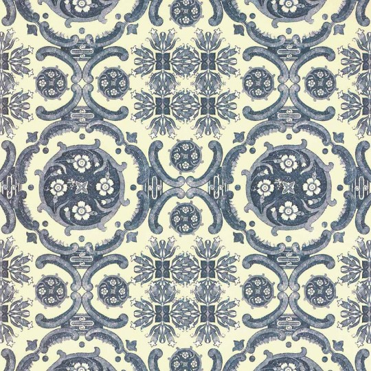 Blue and Ivory Chinoiserie Floral Italian Paper