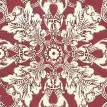 Dark Red Brocade Tiled Floral Italian Paper