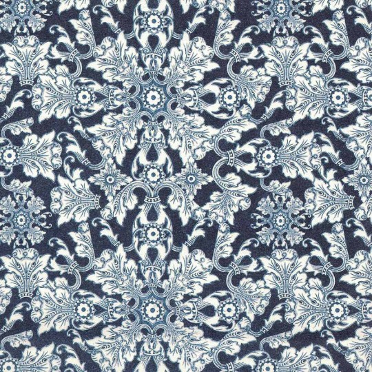 Dark Blue Brocade Tiled Floral Italian Paper