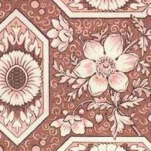 Red Geometric Tiled Floral Varese Italian Paper