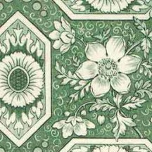 Green Geometric Tiled Floral Varese Italian Paper