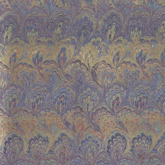 Purple and Gold Marbled Print Italian Paper