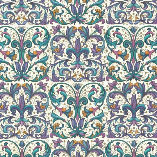 Purple and Blue Stylized Flowers Florentine Print Italian Paper