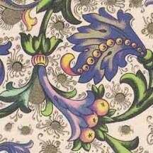 Purple Leaf and Fruit Florentine Print Italian Paper