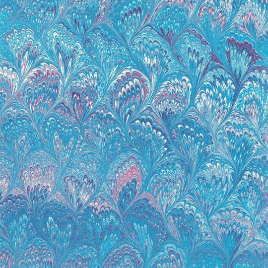 Blue and PInk Marbeled Feathers Italian Print Paper ~ Carta Fiorentina Italy