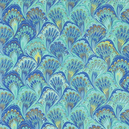 Blue and Aqua Marbeled Feathers Italian Print Paper with Golden Highlights ~ Carta Fiorentina Italy