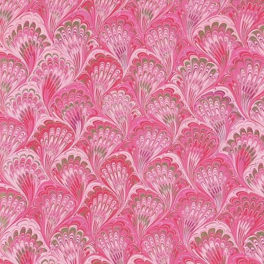 Pink and Red Marbeled Feathers Italian Print Paper with Golden Highlights ~ Carta Fiorentina Italy