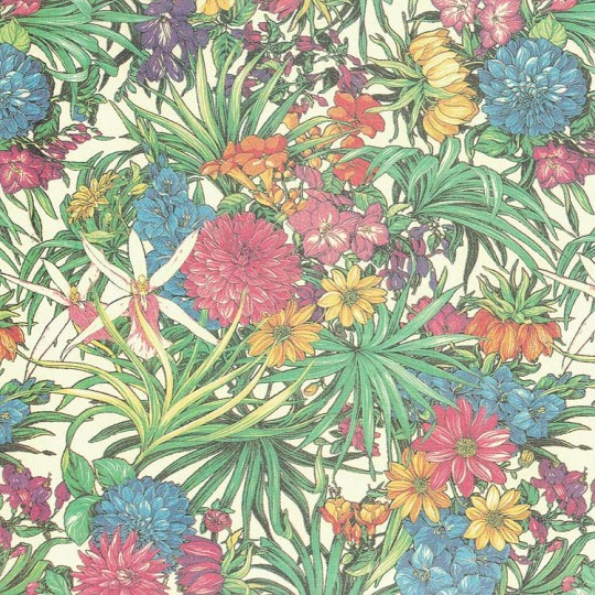 Mixed Tropical Flowers Italian Print Paper ~ Carta Fiorentina Italy